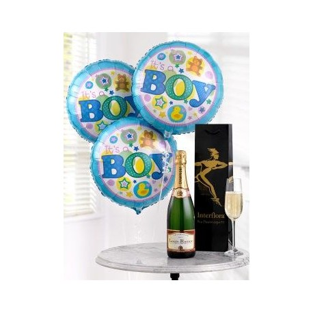 Celebratory Champagne and Baby Boy Balloons