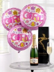 Celebratory Champagne and Baby Girl Balloons
