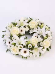 Rose and Lily Wreath - White