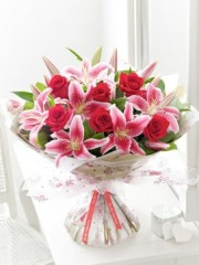 Valentine's Rose and Lily Hand-tied with Chocolates